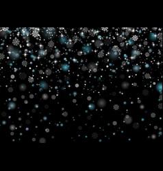beautiful snowfall falling shining snowflakes and vector image