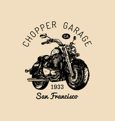 Biker garage logo hand drawn motorcycle vector