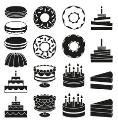 Black and white 18 dessert icon silhouette set vector