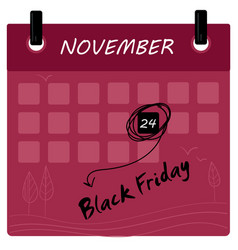 Black friday 2017 sale calendar vector