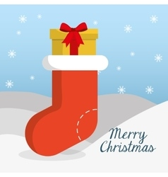 Boot and gift of chistmas design vector