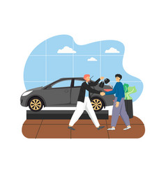car showroom with new car and two male characters vector image