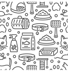 cat and veterinary pet accessories outline icons vector image