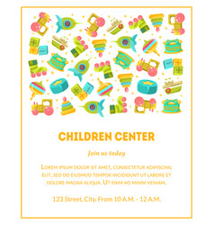 Children center banner template with cute baby vector