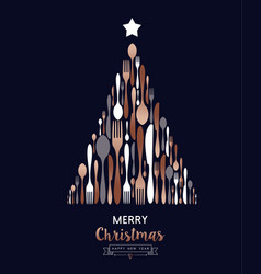 christmas and new year copper cutlery tree card vector image