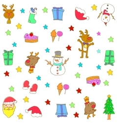 Christmas doodle symbols set vector image