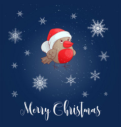 christmas with bullfinch vector image