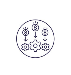 Cost optimization or reduction line icon vector