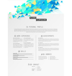 creative simple cv template with polygonal vector image