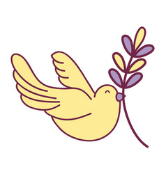 cute dove animal with branch to peace symbol vector image