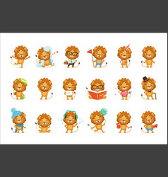 Cute lion characters posing in different vector