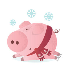 cute pig in winter scarf greeting vector image