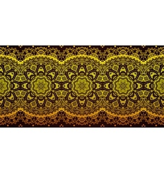 Decorative golden lace stripe pattern on black vector image