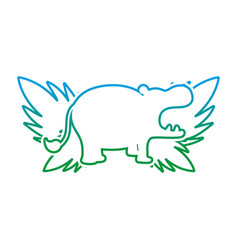 degraded line silhouette hippopotamus with exotic vector image