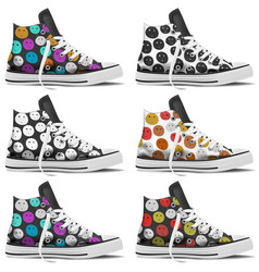design collection realistic sneakers mock up vector image