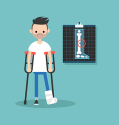 disabled bearded man on crutches with broken leg vector image