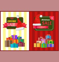 Discount christmas sale poster santa claus hat box vector