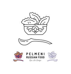 Dumpling icon pelmeni russian food symbol thin vector
