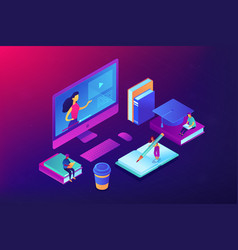 e-learning isometric 3d concept vector image