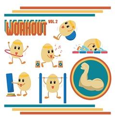 Eggs cartoon in workout activities vector