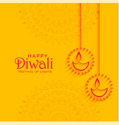 Elegant yellow diwali festival background with vector