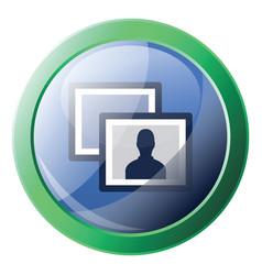facebook photos sign inside a round green frame vector image