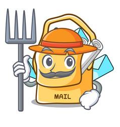 farmer bag sack fill in cartoon mail vector image