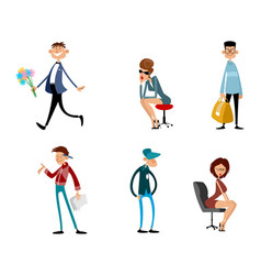 fashionable funny characters vector image