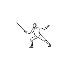 fencing hand drawn outline doodle icon vector image