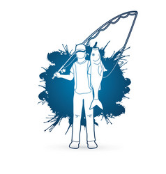 Fisherman standing and show big fish vector