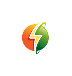 flash planet circle thunder logo vector image