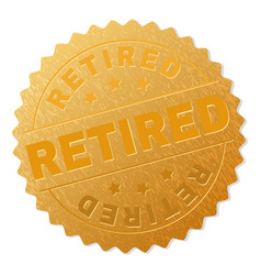 Gold retired medal stamp vector