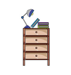grated cabinet file archive with lamp desk and vector image