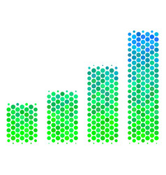 halftone blue-green bar chart icon vector image