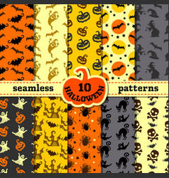 halloween party decorations big seamless patterns vector image
