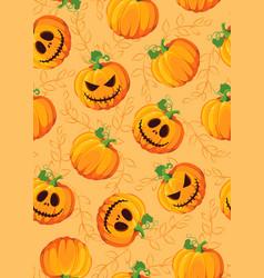 halloween pumpkin seamless pattern on orange vector image