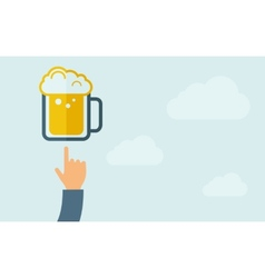 Hand pointing to a beer mug vector image