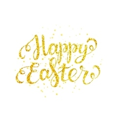 Happy easter gold lettering vector image