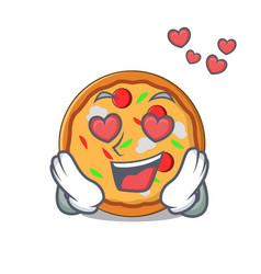 In love pizza mascot cartoon style vector