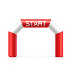 Inflatable start line arch red and white vector