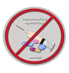 international day against drug abuse 26 june vector image