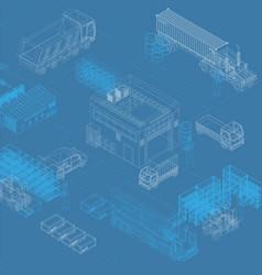 Isometric blueprint of storage and trucks vector