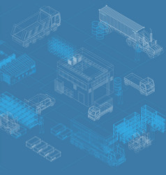 isometric blueprint storage and trucks vector image