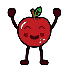 kawaii cute apple funny fruit vector image