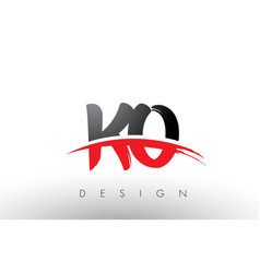 ko k o brush logo letters with red and black vector image