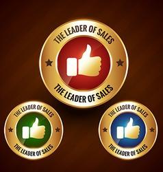 leader of sales golden label badge with set of vector image