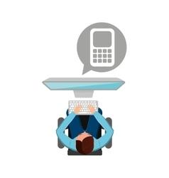 man working computer finance media design vector image