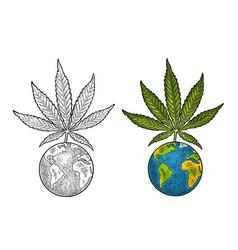 Marijuana leaf and earth planet vintage black vector