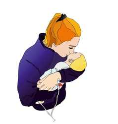 Mom with baby vector image