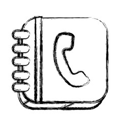Monochrome sketch of square button with phone book vector